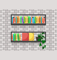 Wooden shelf with books and files interior decor vector