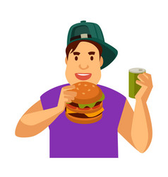 Young guy eats fast food and drinks soda in can vector