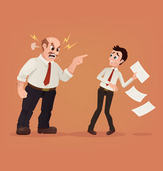 angry boss character yelling employee office vector image