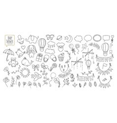 Baby shower related design elements set Hand vector image vector image