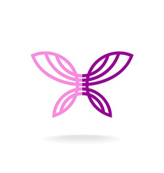 Butterfly logo template Line art silhouette with vector image vector image