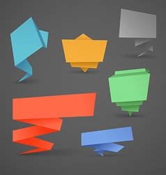 Colorful polygonal origami banners set Place your vector image vector image