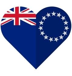 Cook Islands flat heart flag vector image