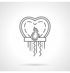 Paper sky lantern heart flat line icon vector image