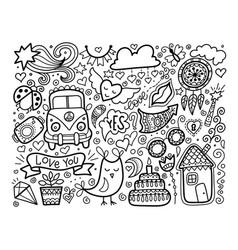 sketch doodle love set black and white elements vector image