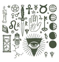 trendy esoteric symbols sketch hand drawn vector image