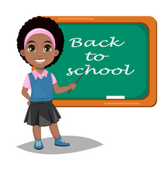 back to school cute afro-american girl standing vector image vector image