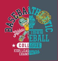 baseball kids college league champ vector image vector image