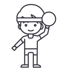 boy playing with ball line icon sig vector image