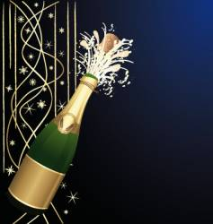 festive open champagne vector image vector image