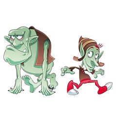 Ogre and Elf vector image
