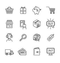 Shopping e-commerce icons set flat outline vector image vector image