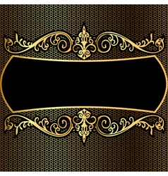 background pattern frame from gild on black backgr vector image
