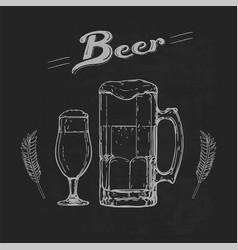 beer on blackboard vector image