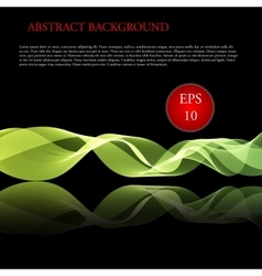 Glowing waves on black background vector image vector image
