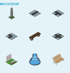 isometric street set of seat aiming game dc vector image vector image