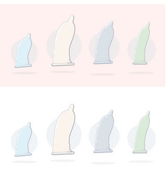 set of condom icons vector image
