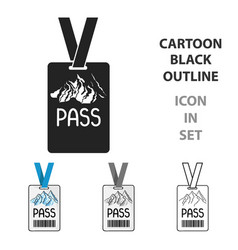 ski pass icon in cartoon style isolated on white vector image vector image