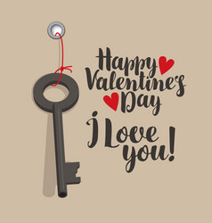 valentine card with inscriptions key and hearts vector image vector image
