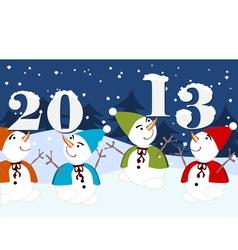 2013 dancing snowmen vector image vector image