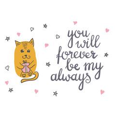 cute cat in love romantic vector image