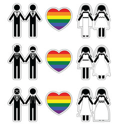 Lesbian brides and gay grooms icon 3 set vector image