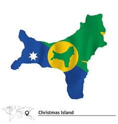 Map of Christmas Island with flag vector image