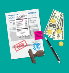 paper invoice form pinned receipt bill pen vector image
