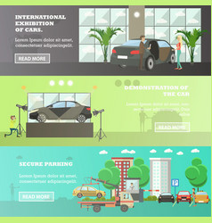 set of cars horizontal banners in flat vector image vector image