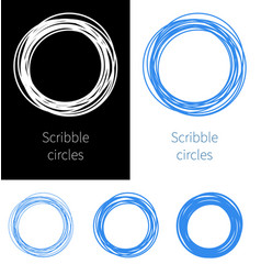 set scribble circle blue pen with different vector image