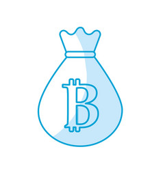 Silhouette bag with bitcoin currency digital vector