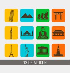 World landmarks silhouettes elements set vector