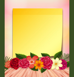 yellow notepad and colorful flowers vector image vector image