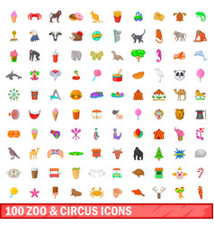 100 zoo and circus icons set cartoon style vector image