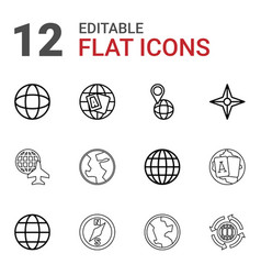 12 geography icons vector image