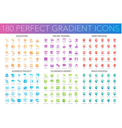 180 trendy perfect gradient icons set of education vector