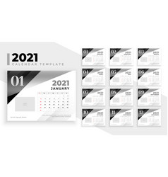 2021 calendar design in black and white stylw vector