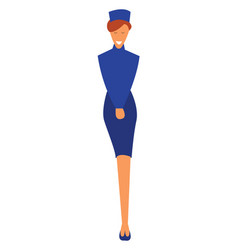 A young woman in her smart blue stewardess dress vector