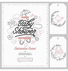 Baby shower invitation templates set Hand drawn vector image