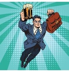 Beer man superhero flying vector