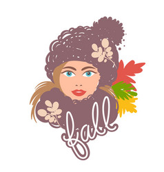 bright autumn girl in a hat and a scarf vector image