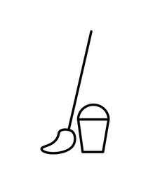 broom basket icon vector image