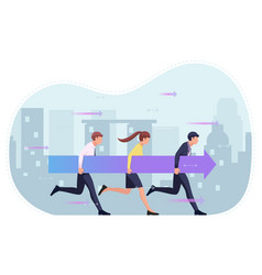 Business people holding arrow and moving forward vector