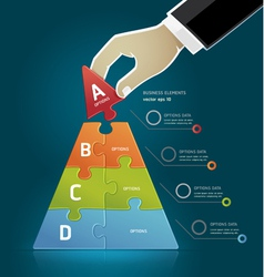 Businessman hand making a pyramid puzzle options vector