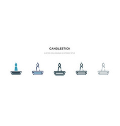 Candlestick icon in different style two colored vector