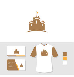 Castle logo design with business card and t shirt vector