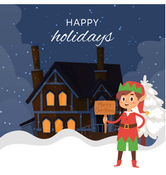 christmas elf on night winter landscape with vector image