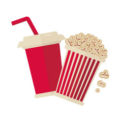 cinema popcorn and soda drink for movie vector image