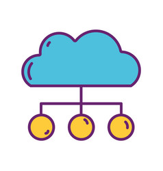 Cloud computing connection strategy digital vector