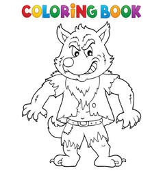 Coloring book werewolf topic 1 vector